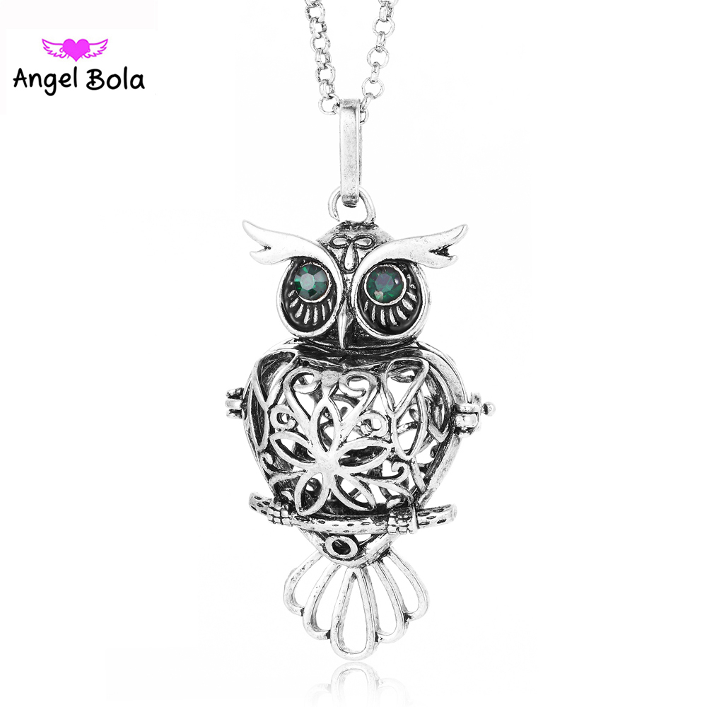 10Pcs Wholesale Angel Bola New Essential Oil Necklaces Owl Shape Cage Jewelry Engelsrufer Ball Pendants for Women and Baby L107