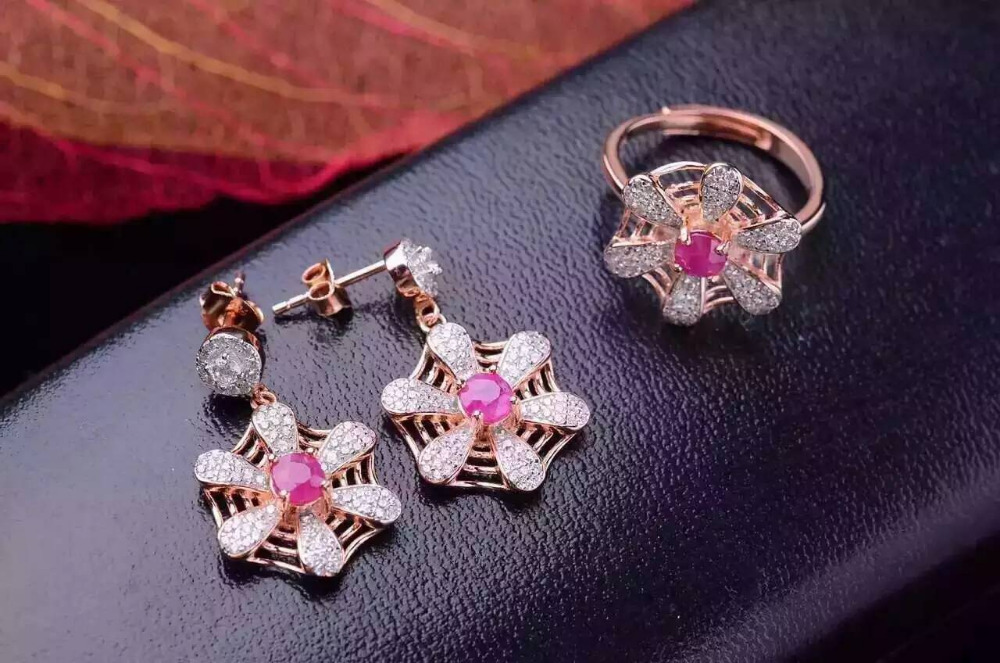 Natural red ruby gem jewelry sets natural gemstone ring Earrings 925 silver Stylish lovely Network Fan women wedding jewelry цена