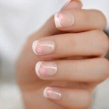 Uñas postizas francesas con flores rosas naturales, Uñas postizas blancas y Nude, purpurina, cortas, para uso diario en manicura