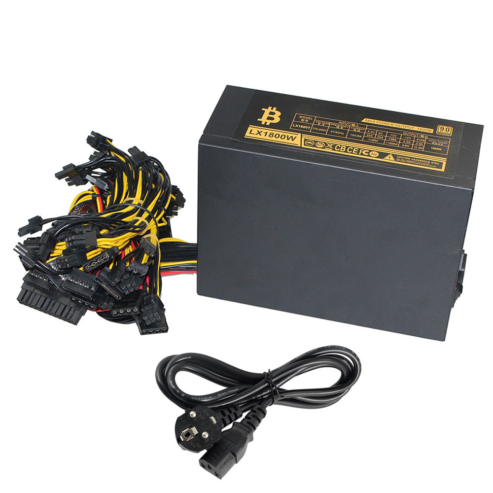 8 GPU PSU Mining Power Supply 1800W Pc Bitcoin Miner R9 380 390 RX 470 480