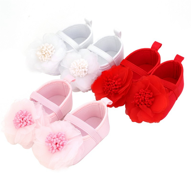 Baby Shoes Baby Girl Infants Lace Flower Princess Shoes Floral Headwear Headband Photography Props Set For Newborns
