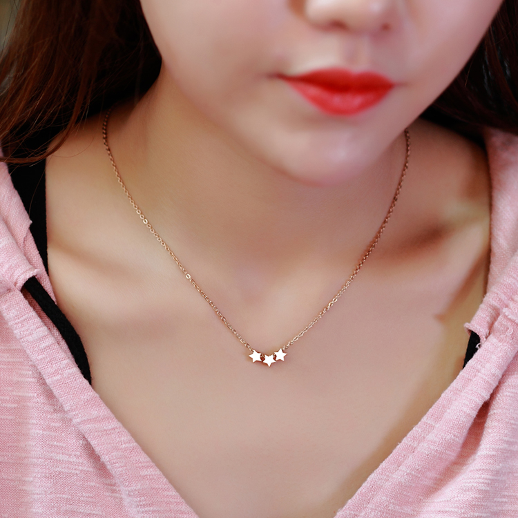 YUN RUO Fashion Brand Woman Jewelry Rose Gold Color 3 Stars Pendant Necklace 316 L Stainless Steel Collares Jewelry High Polish