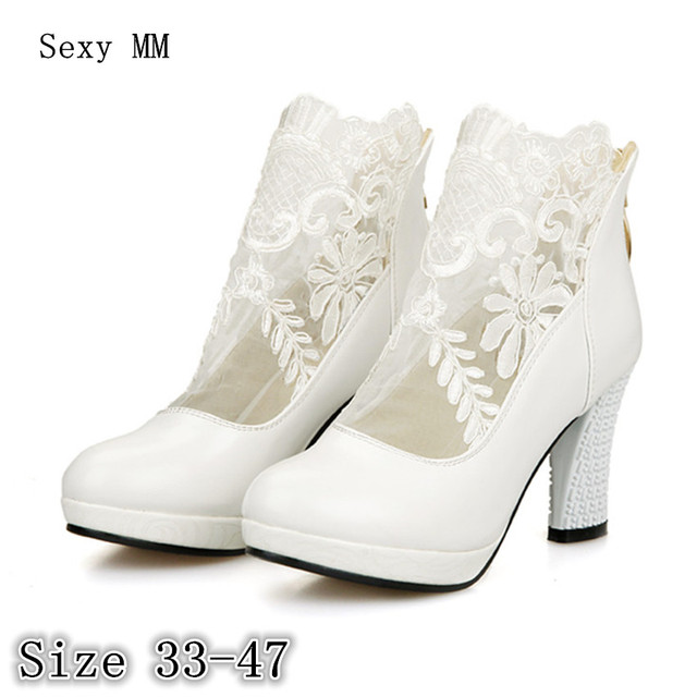 Women High Heel Shoes Platform Pumps Woman High Heels Party Wedding Shoes  Kitten Heels Plus Size 1e841e06e4