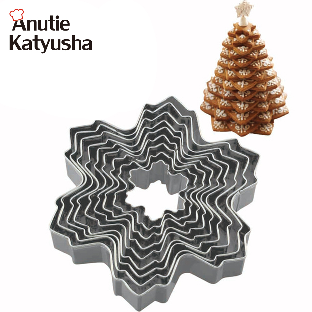 9Pcs/Set Snowflake Stainless Steel Cookie Cutter Mould Biscuit Pastry Mold Cake Fondant Molds Cake Decoration Tool ...