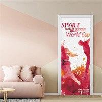 2018 neue Fußball Spiel Thema Tür Dekoration Aufkleber PVC Selbstklebende Tür Wandbild DIY Holz Tür Renovierung Decals Tapeten-in Türaufkleber aus Heim und Garten bei
