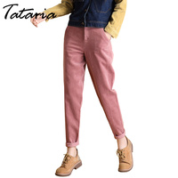 Tataria High Waisted Harem Pant Women Cotton Loose Casual Pink Corduroy Pants For Women Pleated High Waist Corduroy Trousers
