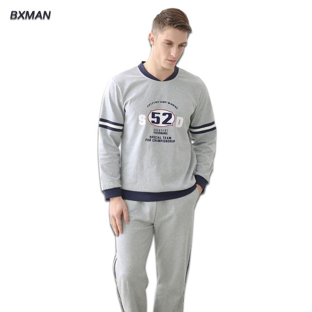 Hombres pijamas fija traje de chándal de algodón su estilo de la letra pijamas para suave y cómodo hombres y hombres cuidado de la salud