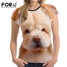 FORUDESIGNS 3D Shih Tzu Dog Prints Women Summer T Shirt Elastic Woman Tops Fashion T-shirt For Girls Female Tees Brand Clothes