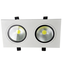 Free shipping Square Double Cob Led Downlight 14w/20w White shell lights For Home  warm cool white AC85-265V CE CSA SAA