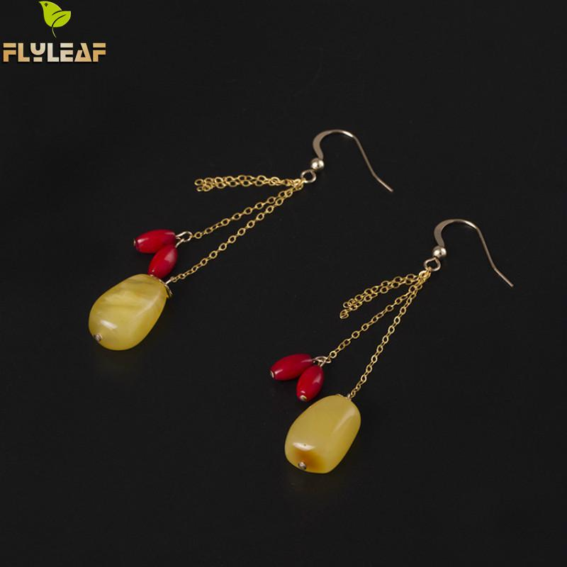 Flyleaf 100% Sterling Silver Natural Stone Long Tassel Earrings Drop Earrings For Women High Quality Lady Fashion Jewelry north european style retro minimalist modern industrial wood desk lamp bedroom study desk lamp bedside lamp