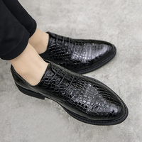 Men Dress Shoes Genuine Leather Snakeskin pattern Flat Business Casual Shoes Loafers Male Formal Wedding Shoes Zapatillas Hombre