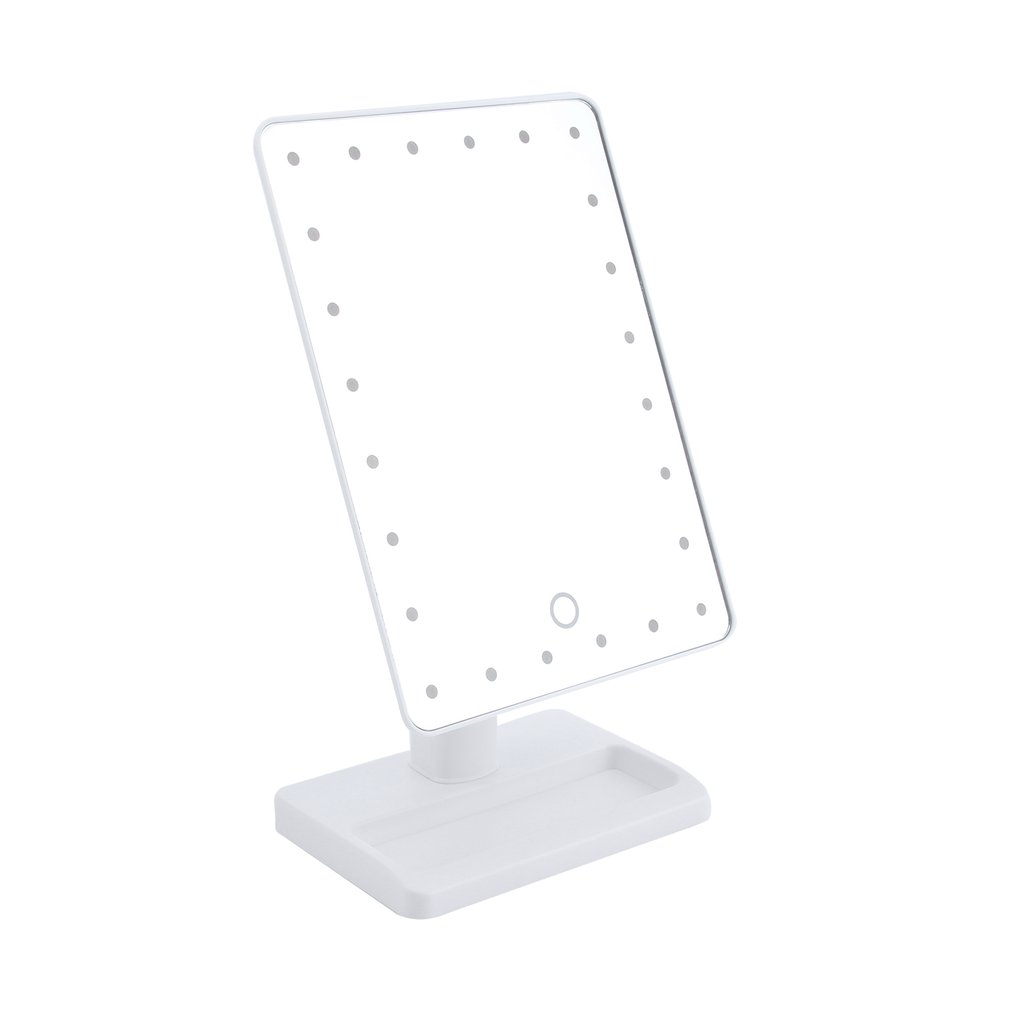 1 pc Square Shpe Desktop Adjustable Brightness LED Facial Makeup Mirror Bedroom Tabletop Makeup Cosmetic Mirror make up tool in Makeup Mirrors from Beauty Health