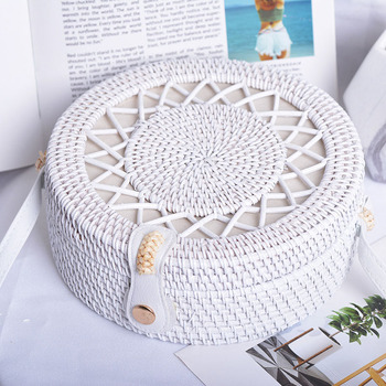 Beach White Hollow Out Stars Women Shoulder Bags Handmade Woven Circle Rattan Bag Summer Holiday Female Crossbody Bags B411 5
