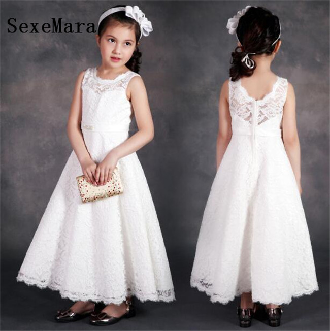 White Lace A Line Girls Dresses O Neck Soft Lace Sheer Neck Beaded Sash Kids Birthday Party Dress Formal Wear Size 2-14YWhite Lace A Line Girls Dresses O Neck Soft Lace Sheer Neck Beaded Sash Kids Birthday Party Dress Formal Wear Size 2-14Y