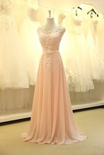 2014 Real Sample Scoop With Cap Sleeve Lace Peach Long Elegant Chiffon Prom Party Dresses Evening Gown Vestidos de Fiesta HL-041