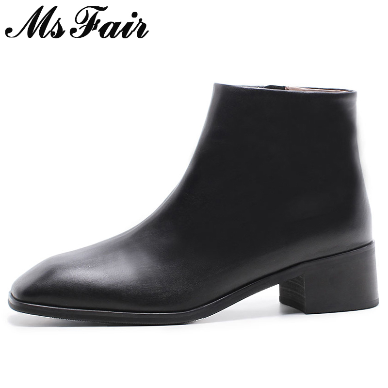 купить MSFAIR Women Boots Fashion Zipper Square Toe Square heel Ankle Boots Women Shoes Med Heel Genuine Leather Boots Shoes For Girl онлайн