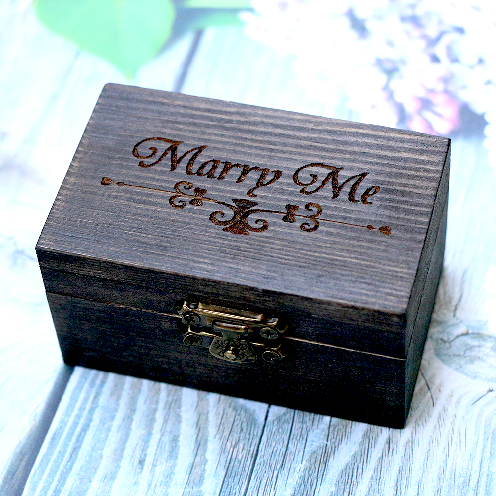 Boho ring box rustic wood wedding ring holder burlap for Cute engagement ring boxes