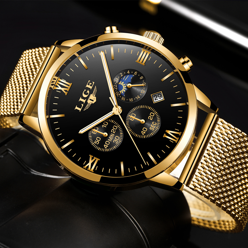 LIGE Mens Watches Top Luxury Brand Business Gold Quartz Watch Men Casual Mesh Steel Waterproof Sport Watch Relogio Masculino+Box