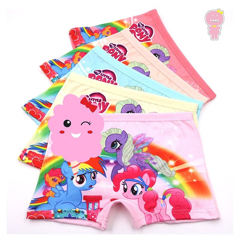 5 pcs/lot 3D Print breathable Pony cartoon horse girls boxer kid panties children underpants baby briefs 3-10 Years