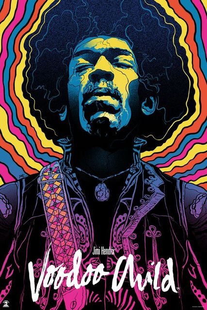 Jimi Hendrix Art Silk Fabric Poster 36