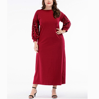 2018 Autumn Red Peal Bead Long Sleeve Kaftan Large Size Middle Eastern Muslim Gown Lantern Sleeve Loose Maxi Dress