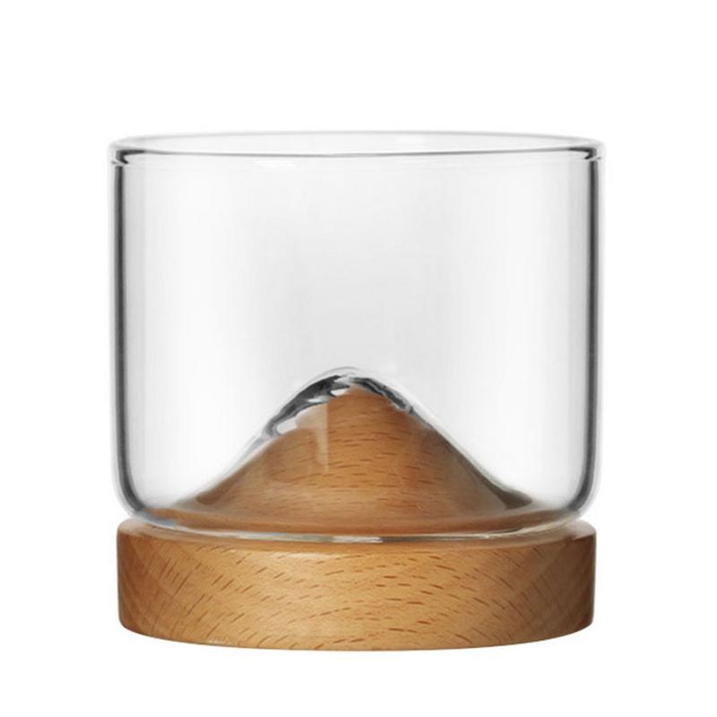 Glas Kleine Glas Japanse Stijl Mountain Houten Bodem Wijnglas Fluit Beker Wijn Glas Driehoek Cups Wijn Glazen Bar 50jb028