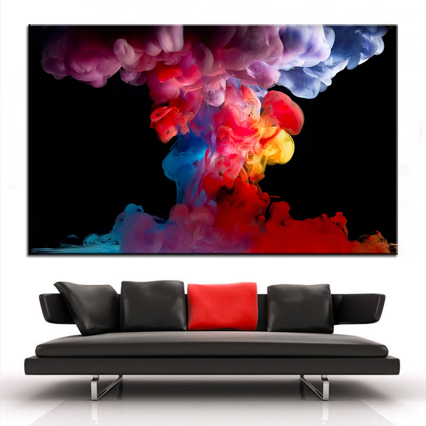 Large size printing oil painting colorful smoke wall for Large colorful wall art