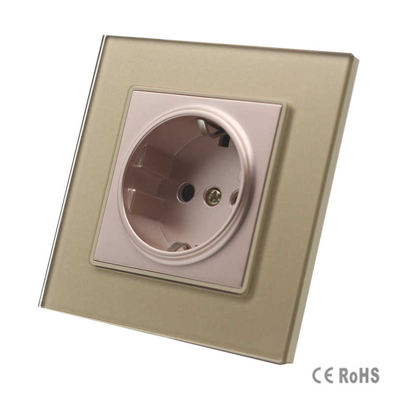 2017 New Arrived EU Standard Power Socket, Golden Crystal Glass Panel, AC 110~250V 16A Wall Power Socket, GB-C7C1EU-1