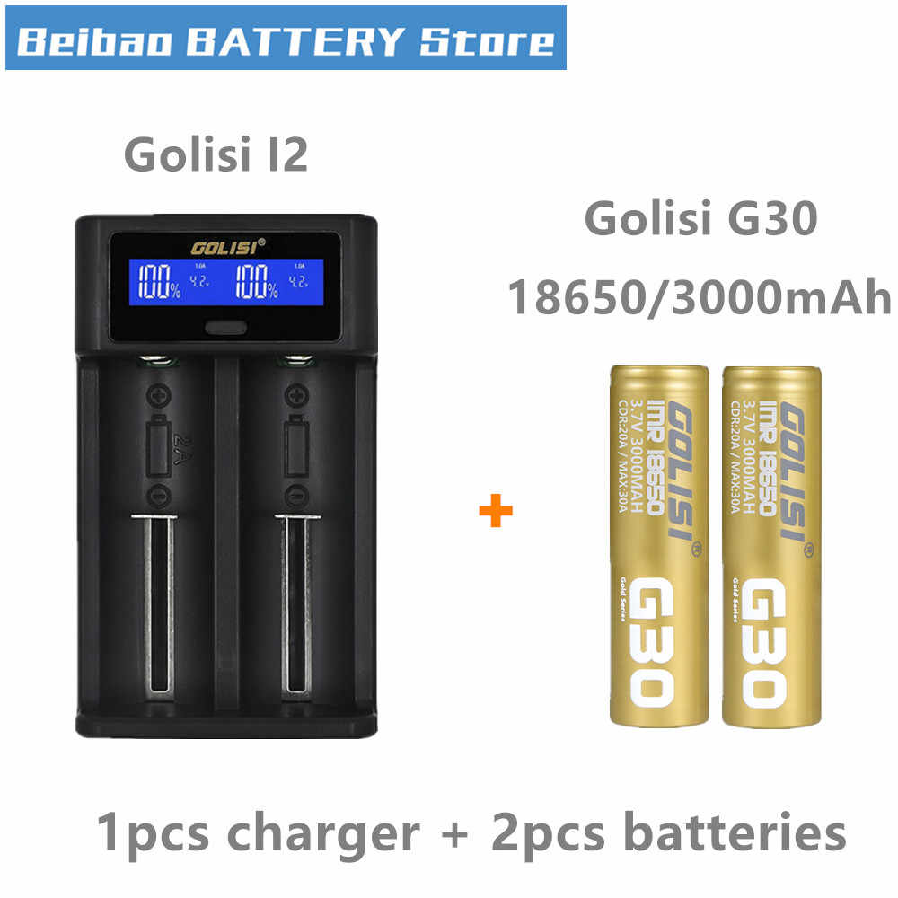 Golisi G30 IMR 18650 battery 3000mah rechargeable battery for VAPE mod with Golisi i2 Smart Charger LCD Display 2A Fast Charging