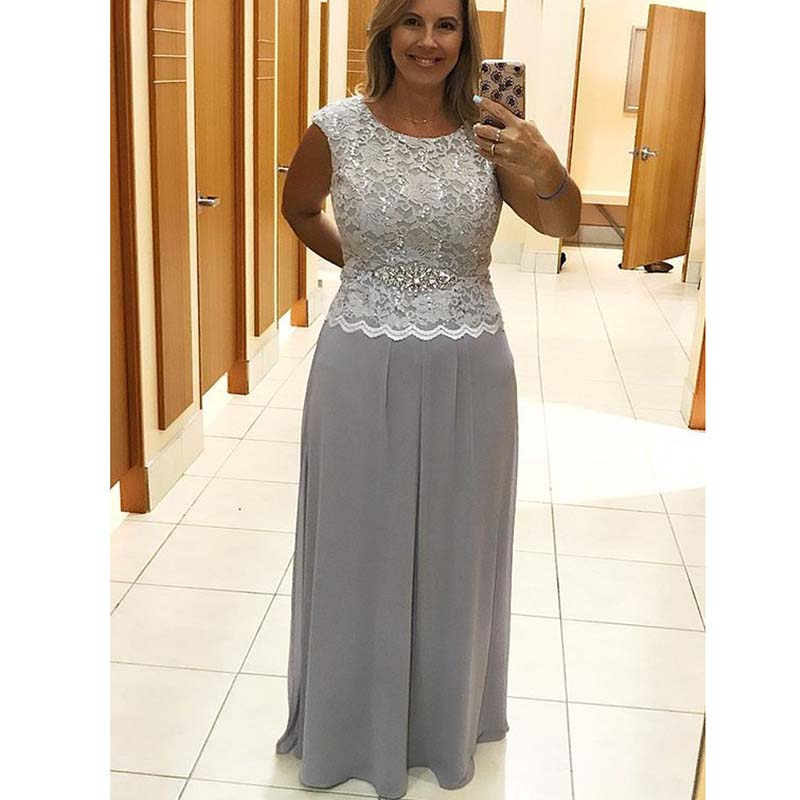 Elegant Plus Size Silver A-Line Chiffon Long Mother Dresses Elegant Evening Dresses For Weddings 2019