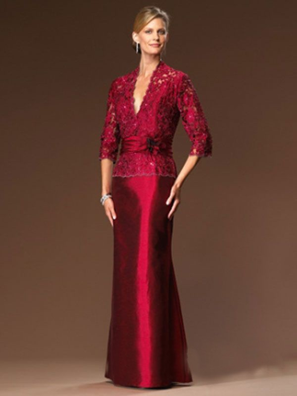 wine Red Lace Taffeta Trumpet Long Mother of the Bride Dresses 3/4 Sleeves V Neck Brides mothers Formal Evening Gowns