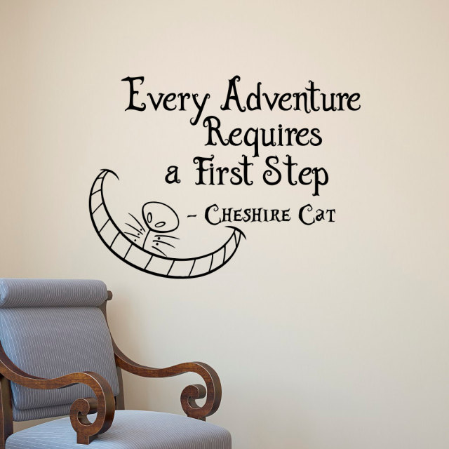 Alice In Wonderland Wall Decals Quotes Cheshire Cat Every Adventure  Requires A First Step Vinyl Wall
