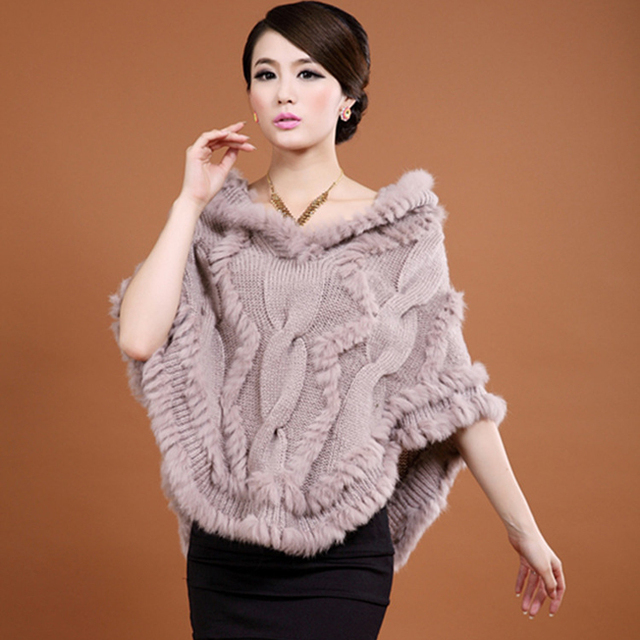 Hot Sale Natural Fur Pashmina Shawls Women Knitted Rabbit Fur Poncho With Hood Winter Poncho Women YC037