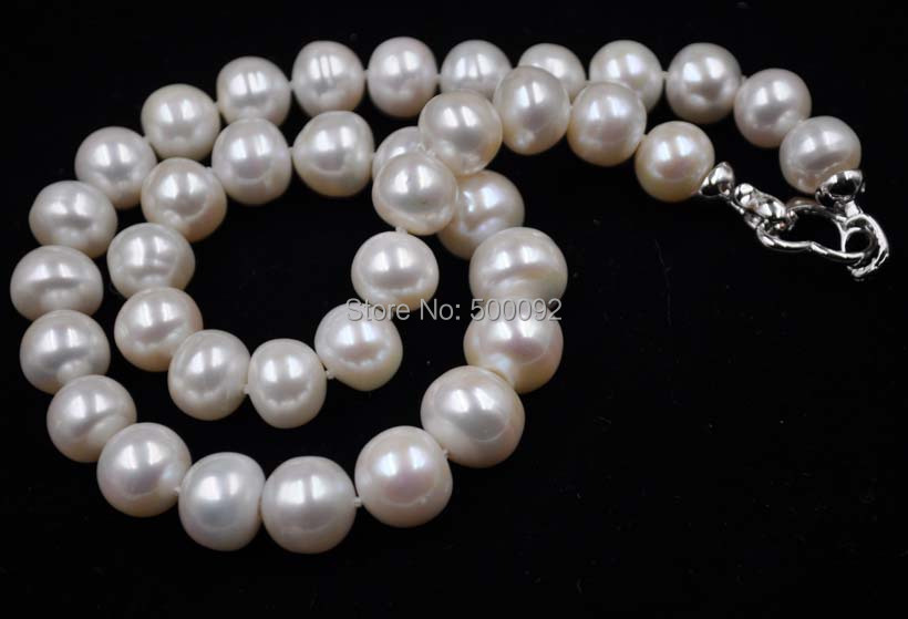46cm 11-14mm white real cultured pearl necklace free shipping46cm 11-14mm white real cultured pearl necklace free shipping