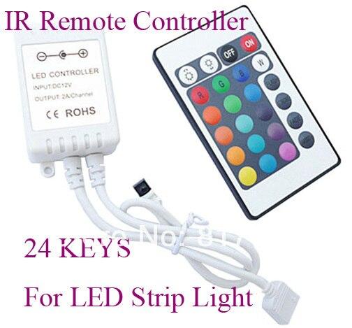 DC 12 V 24 V 24 teclas controlador remoto infrarrojo pará LEVOU tira SMD 5050 3528 IR Controle Remoto para LED strip luz