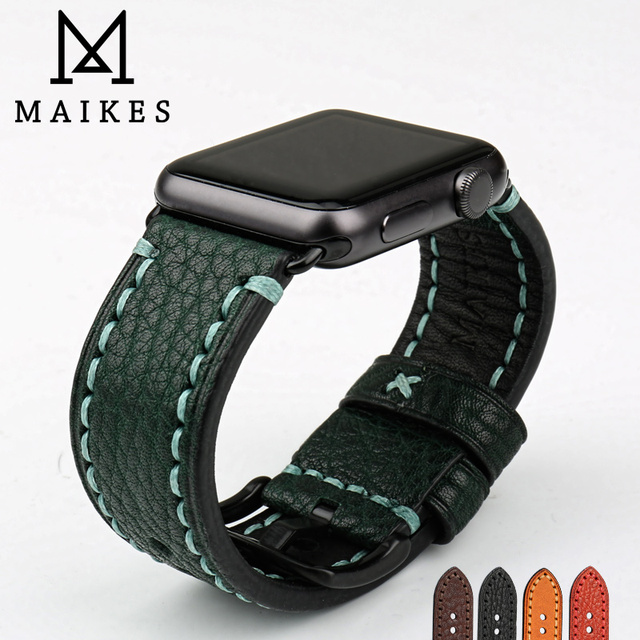 MAIKES Fashion Green Leather Strap For Apple Watch Band 42mm 38mm Series 4/3/2/1 iWatch watchband Apple Watch Strap 44mm 40mm