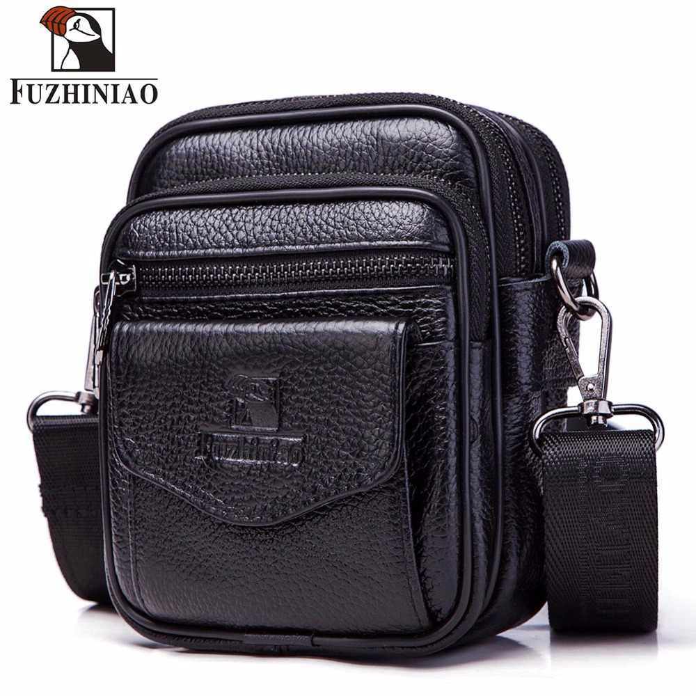 FUZHINIAO High Quality Small Genuine Cowhide Leather Men's Shoulder Bag Handbag Messenger Male Crossbody Sling Tote Small Zipper