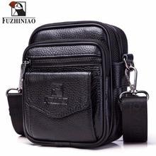FUZHINIAO High Quality Small Genuine Cowhide Leather Mens Shoulder Bag Handbag Messenger Male Crossbody Sling Tote Small Zipper