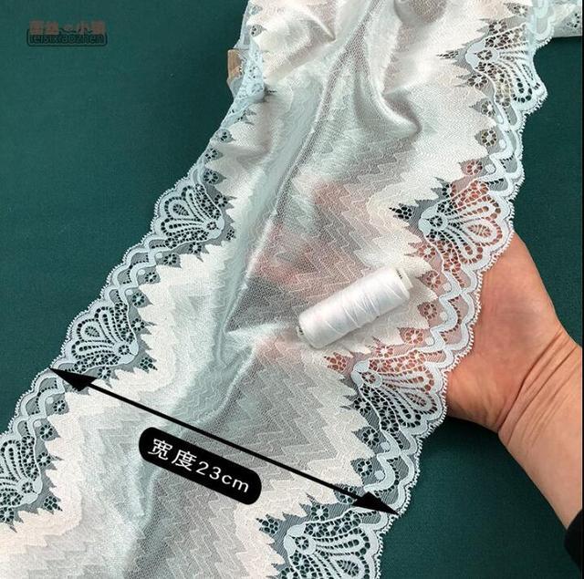 1 Meter Hellblaue Elastische Spitzenbesatz DIY Handgemachte Spitze Posamenten Hochzeit Kleid Rock DIY Baby Puppen Outfits Spitze 22 cm in 1 Meter