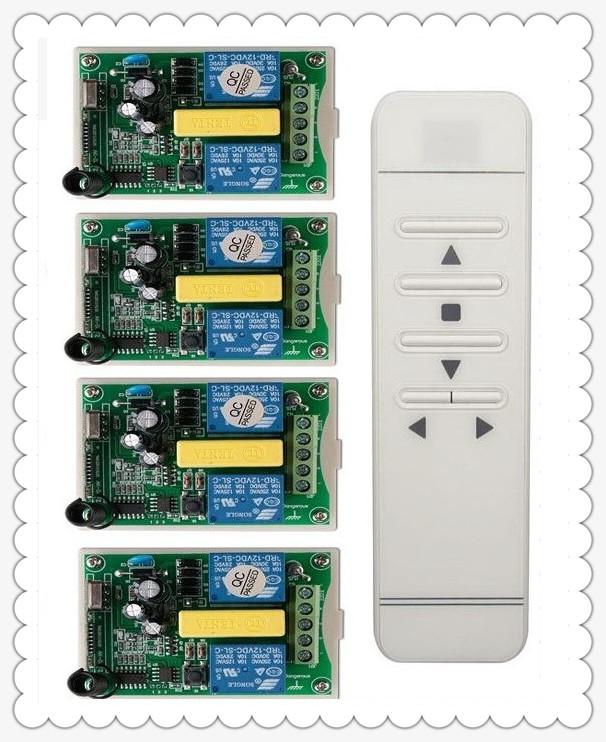 Prix pour AC 220 V numérique intelligent RF sans fil système de commutateur de commande à distance + 4 pcs récepteur pour écran de projection/garage porte/stores