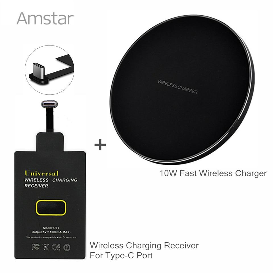 Amstar 10 W Qi chargeur sans fil charge rapide sans fil pour Samsung S8 Noie8 + Qi chargeur sans fil recevoir pour type-c Port Xiaomi
