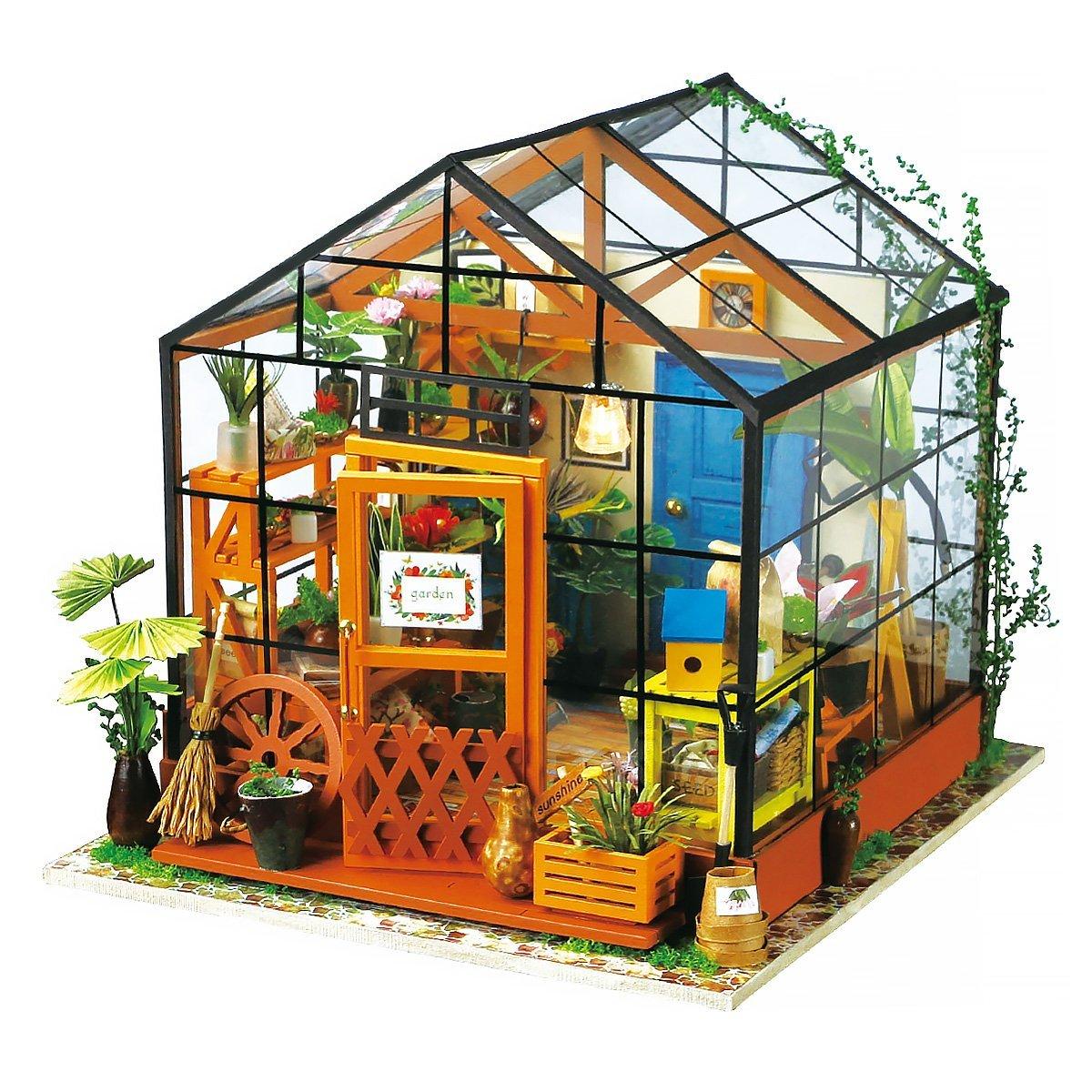 Bricolage maison de poupée décoration de la maison en bois Miniature meubles Kit Mini serre en verre meilleurs cadeaux d'anniversaire pour les femmes et les filles