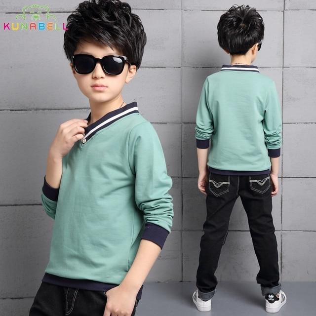 New Brand Style Spring Fashion Teenager Boy T-Shirts Long Sleeve Boys Causal Cotton Shirts Kids Tops Tees Menino Clothes L266