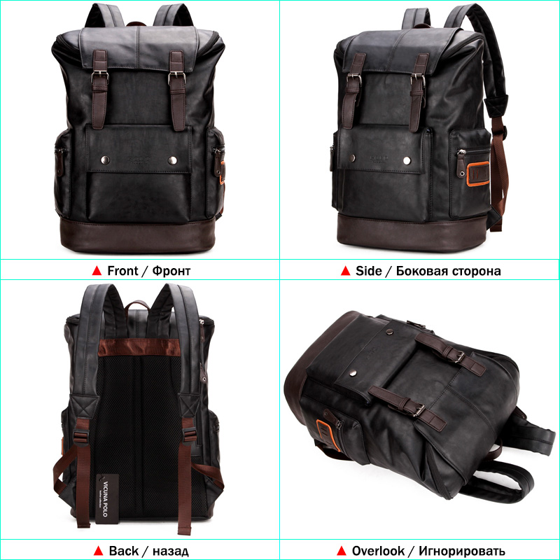 aa46fe9dcd5 VICUNA POLO Fashion Unique Patchwork Mens Leather Backpack Bag Trendy Large  Student Rucksack School Bag Simple Men Travel Bags-in Backpacks from  Luggage ...