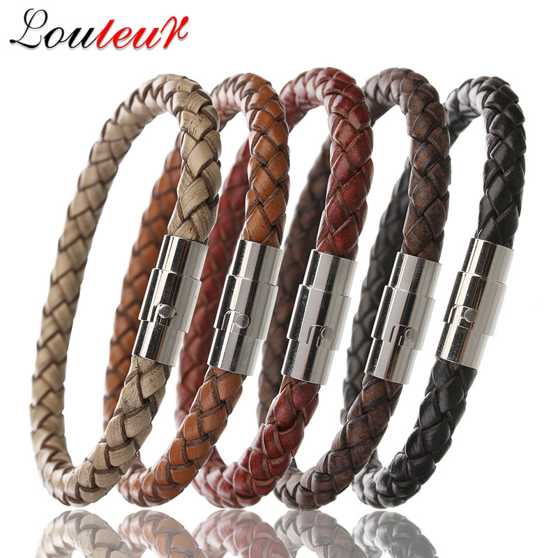 Louleur 2017 New 100% Genuine Braided Leather Bracelet Men Women Stainless Steel Magnetic Clasp Male Bracelets Bangles Jewelry
