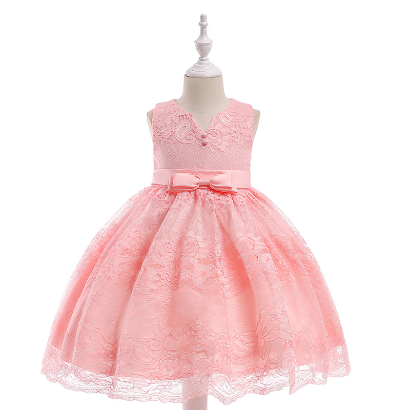 Hot Sale in Stock Princess Prom Party   Dress   With Bow Elegant   Flower     Girls     Dress   Formal Birthday   Dress