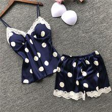 Sexy Polka Dot Women Home Clothes For Summer Shorts Sets Sleepwear Female Silk Lace Satin Sleeveless Pyjama Pajama Set plus polka dot lace trim pajama set