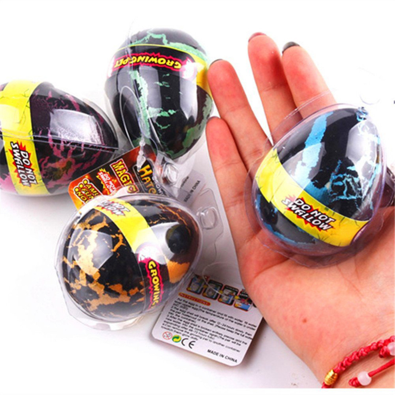 4Pcs/Set Magic Hatching Growing Dinosaur Eggs Large Size Black Crack Water Hatch-Grow Dino Egg for Kids Toy Gifts -48 creative dinosaur egg interactive cute fantastic hatching egg with plush animal novelty gag toys growing dinosaur eggs