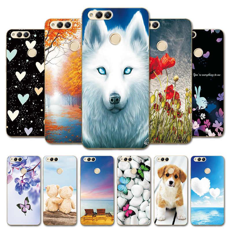 "Heart Case untuk Huawei Honor 7X5.93 ""Printing Lembut TPU Bumper Penutup Kulit untuk Huawei Honor7X Hewan Lucu tas Telepon"