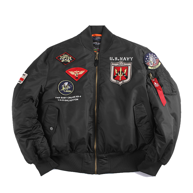 Image 4 - 2019 Winter Vintage Top Gun streetwear hip hop military coats clothes letterman punk bomber flight air force pilot jacket men-in Jackets from Men's Clothing